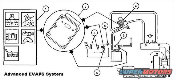 advancedevapssystem.jpg The EVAP Running Loss system consists of a fuel tank, fuel filler cap, fuel tank mounted or in-line fuel vapor control valve, fuel vapor vent valve EVAP canister, fuel tank pressure (FTP) sensor, EVAP canister purge valve, intake manifold hose assembly, canister vent (CV) solenoid, powertrain control module (PCM) and connecting wires and fuel vapor hoses.