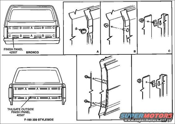 ford bronco tailgate diagram