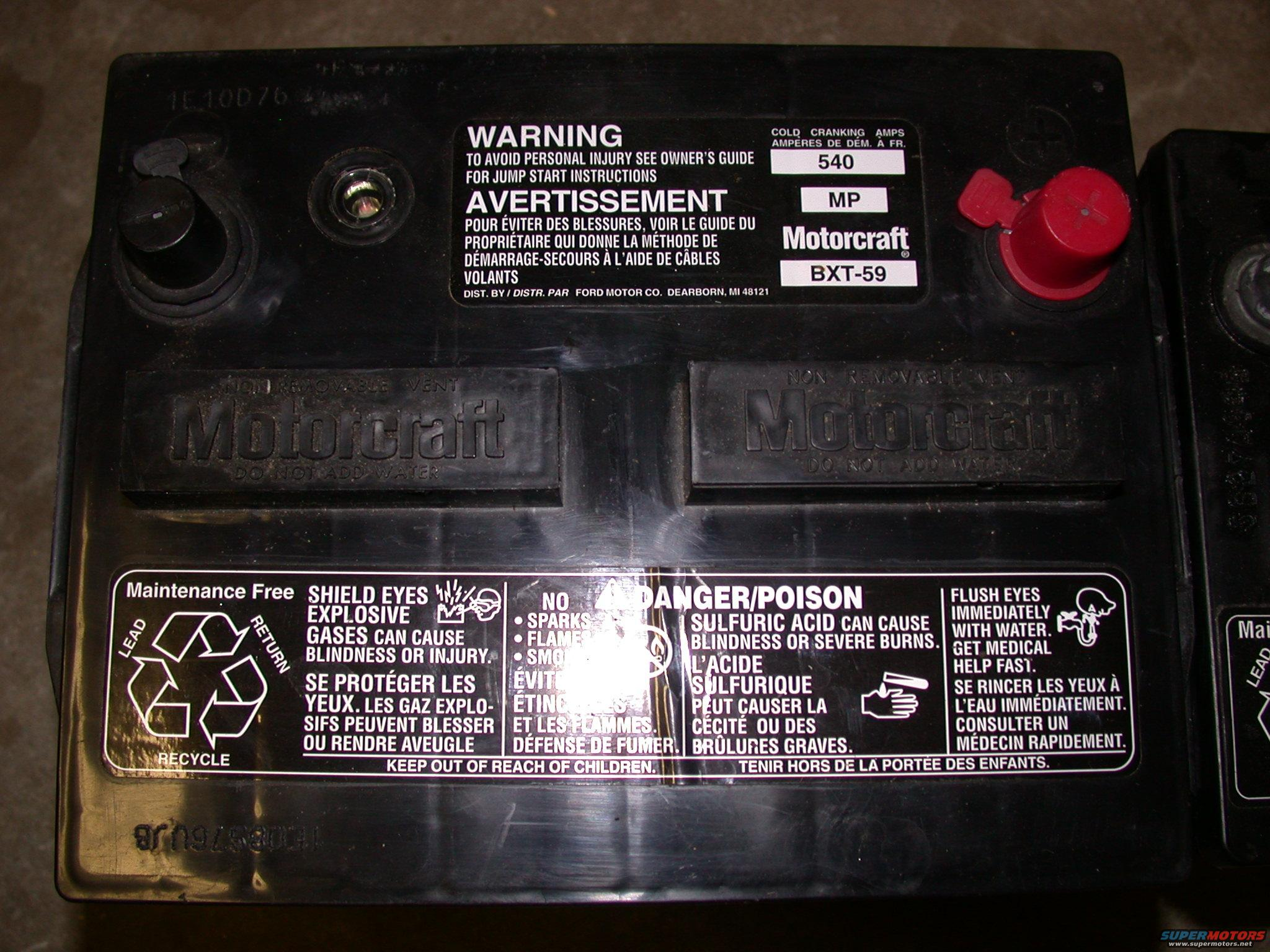 1995 Ford Mustang Cobra R Motorcraft Battery I D Picture