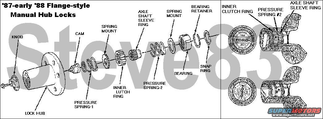 96 Ford Bronco Manual Locking Hubs