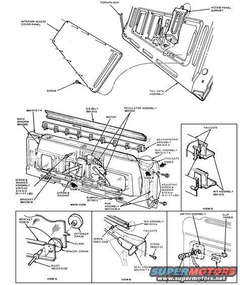 1988 ford bronco tailgate diagram pictures videos and sounds rh supermotors net 1990 ford bronco rear window wiring diagram 1988 Ford Distributor Wiring Diagram