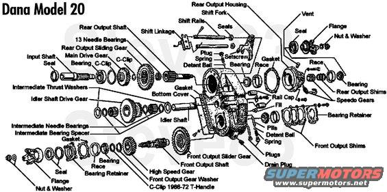 ford dana 20 transfer case diagram