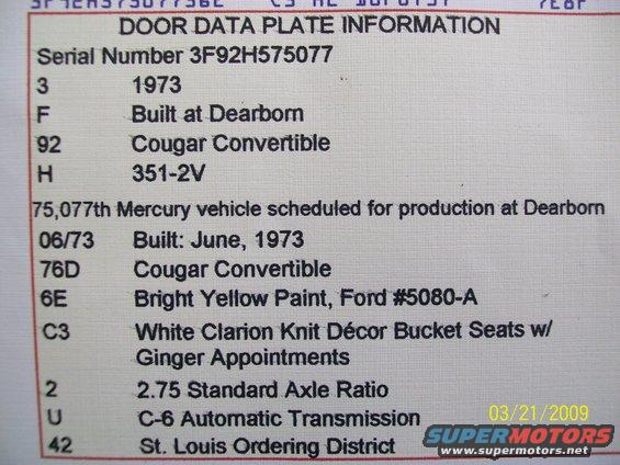 1973 cougar convertible order type stock 71 73 cougar owners list [archive] classic cougar forums  at bakdesigns.co
