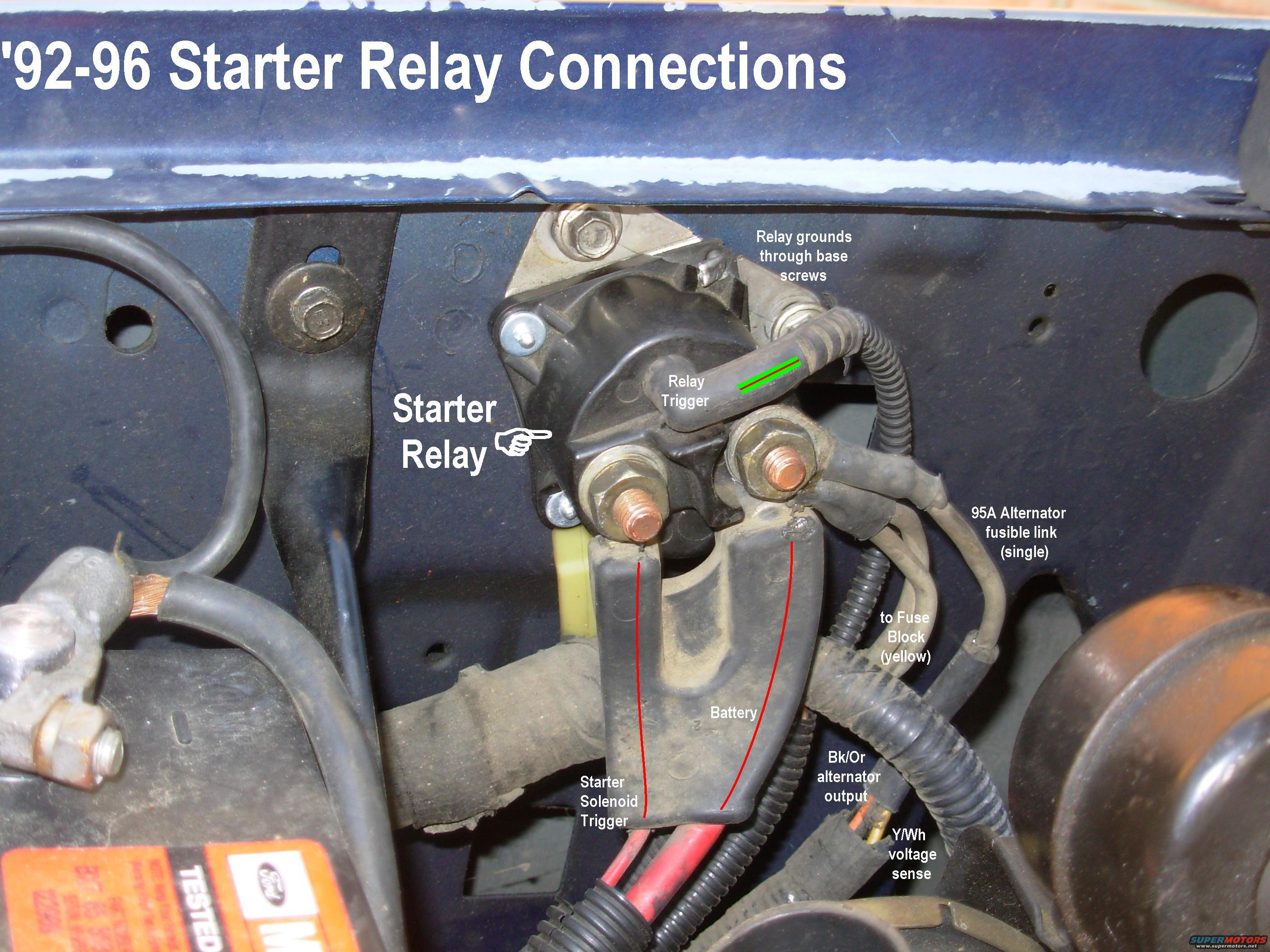 starterrelay93conns 1990 ford f250 starter solenoid wiring diagram 1989 ford f250 Ford Truck Alternator Diagram at cos-gaming.co