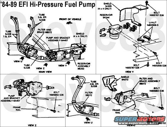 fuelpumpearlyefi alt= 1983 ford bronco '84 89 fuel reservoirs pictures, videos, and 1988 ford ranger fuel pump wiring diagram at crackthecode.co