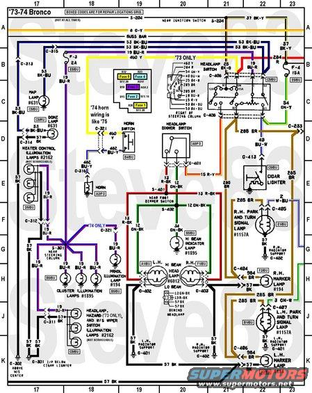 1976 ford bronco tech diagrams pictures videos and sounds rh supermotors net 78 Ford Bronco Alternator Wiring Ford Bronco Wiring Harness Diagram