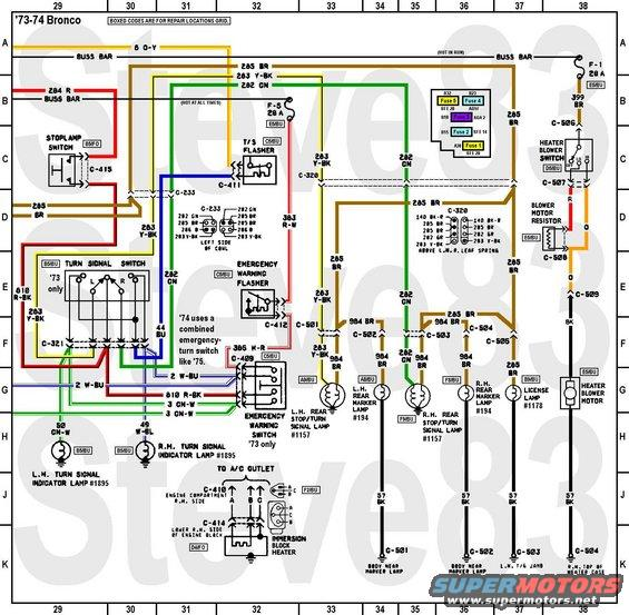 1976 ford bronco tech diagrams pictures videos and sounds rh supermotors net 69 Bronco Dash Wiring Schematic Ford Bronco Wiring Harness Diagram