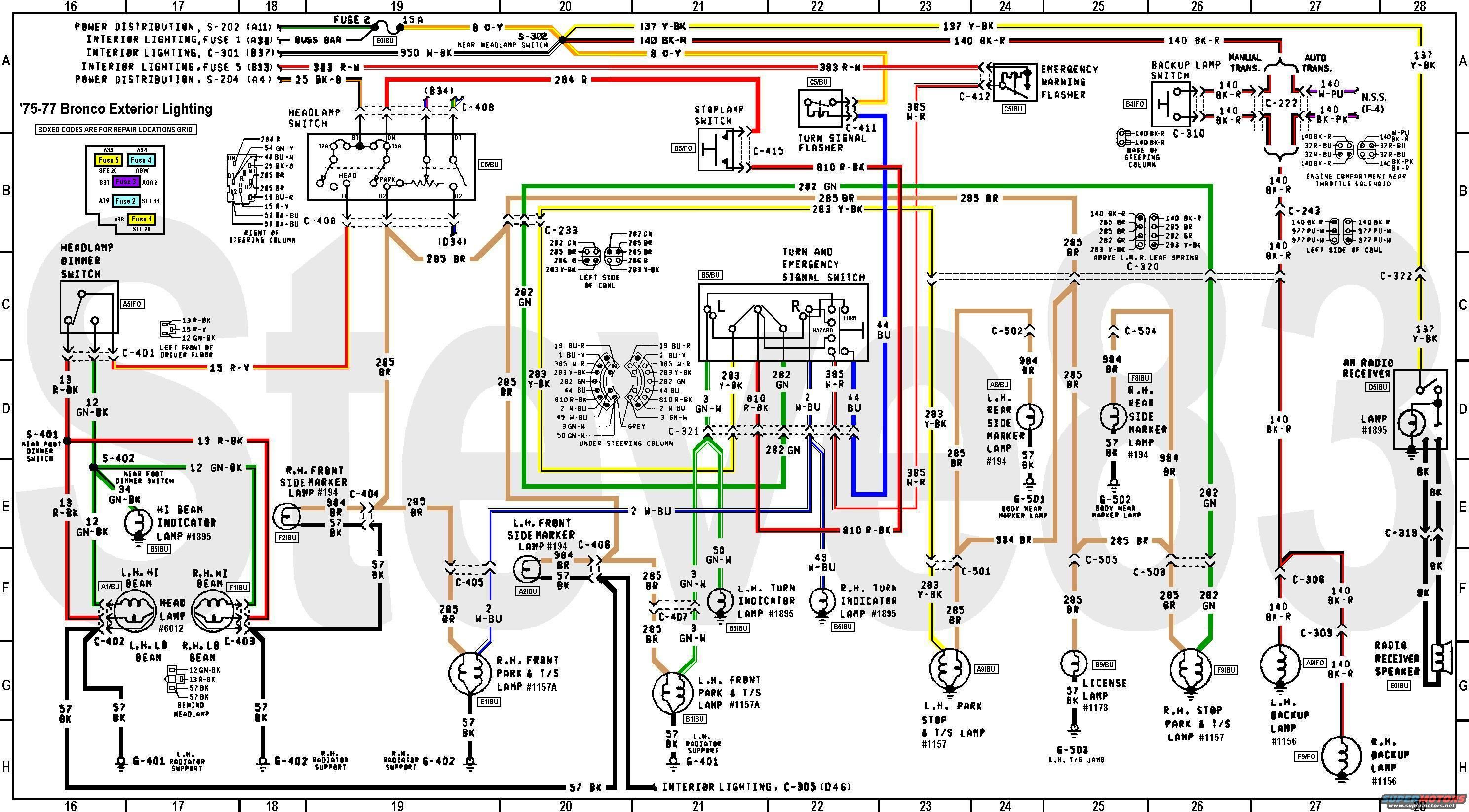 early bronco wiring diagram 1976 ford bronco tech diagrams picture | supermotors.net early bronco electrical diagram