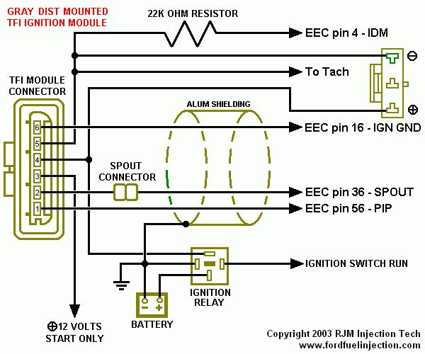 ford tfi distributor wiring diagram remote tfi conversion using '92+ distributor (4.9) - ford ... #11