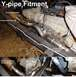 Using the original '96 Bronco muffler, I positioned my homemade flange on the new Y-pipe, and checke...