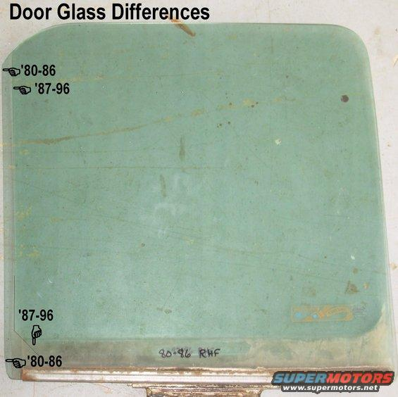 doorglasses.jpg Door Glass Differences FRONT IS LEFT  The divider bar (back of the vent window frame) is deeper for '87-96, and the glass is correspondingly shorter front-to-back.  The weatherbelts (inner & outer) are also sized to match the divider bar.  For more info, see this: [url=http://www.supermotors.net/vehicles/registry/media/687492][img]http://www.supermotors.net/getfile/687492/thumbnail/doorwindowspacer.jpg[/img][/url]