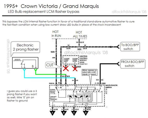 95pantherledlcmbypass alt= 1996 mercury grand marquis panther lcm lighting circuits and 1989 Lincoln Town Car Wiring Diagram at bayanpartner.co