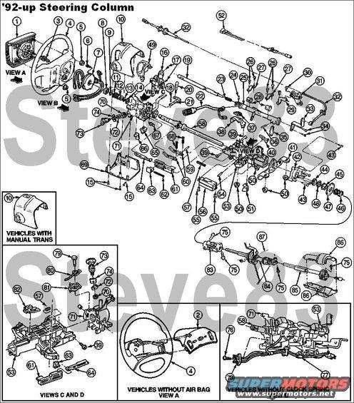 1996 ford crown victoria steering column