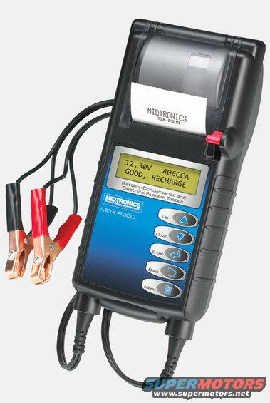 mdxp300.jpg Midtronics high-frequency testers (with the LCD screen & 5 buttons down the right side) are the industry standard for battery testers, and most dealerships (of most makes) are required to use them for [url=http://www.motorcraft.com/servlet/BlobServer/terms-and-condition.pdf]warranty[/url] returns.  I have this model with the built-in printer, but no alternator diagnostics.  http://www.midtronics.com/search/searchresults/MDX-P300.aspx  Load testing is not recommended or accepted by Ford.  [url=https://www.supermotors.net/vehicles/registry/media/940436][img]https://www.supermotors.net/getfile/940436/thumbnail/31top.jpg[/img][/url]  Before buying a craptasmic battery or other common part, check for [url=http://owner.ford.com/servlet/ContentServer?pagename=Owner/Page/ServiceCouponsPage]coupons & service offers from Ford[/url].  [url=https://www.supermotors.net/registry/media/1082053][img]https://www.supermotors.net/getfile/1082053/thumbnail/batttermx.jpg[/img][/url] . [url=https://www.supermotors.net/registry/media/975094][img]https://www.supermotors.net/getfile/975094/thumbnail/34batt.jpg[/img][/url] . [url=https://www.supermotors.net/registry/2742/69178-4][img]https://www.supermotors.net/getfile/723279/thumbnail/07done.jpg[/img][/url] . [url=https://www.supermotors.net/registry/media/825375][img]https://www.supermotors.net/getfile/825375/thumbnail/alternatormountboss.jpg[/img][/url] . [url=https//www.supermotors.net/registry/media/944780][img]https://www.supermotors.net/getfile/944780/thumbnail/altl8.jpg[/img][/url] . [url=https://www.supermotors.net/registry/media/955475][img]https://www.supermotors.net/getfile/955475/thumbnail/26winchrelays.jpg[/img][/url]  This battery tester is not a multimeter, and even the best DMM can't do what the tester does.  But if you need a decent meter, consider this one, or one with most of its features:  [url=https://www.supermotors.net/registry/media/1077817][img]https://www.supermotors.net/getfile/1077817/thumbnail/rs22172dmm.jpg[/img][/url]