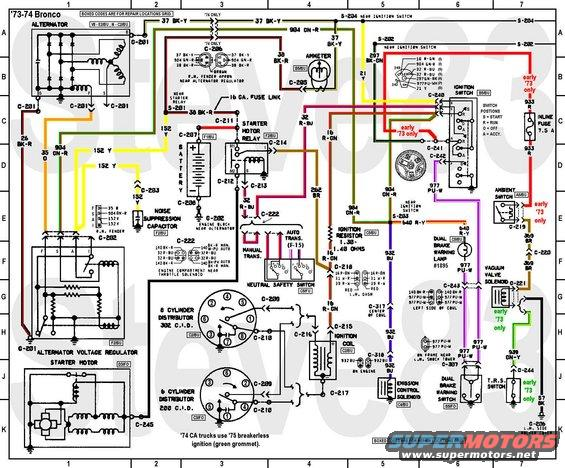 1976 ford bronco tech diagrams pictures videos and sounds rh supermotors net ford bronco ignition wiring diagram ford bronco ignition wiring diagram
